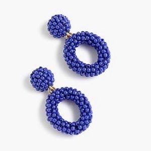 J. CREW Mini Beaded Drop Hoop Blue Earrings NWT